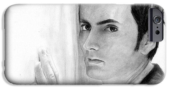 David Drawings iPhone Cases - David Tennant 2 iPhone Case by Rosalinda Markle