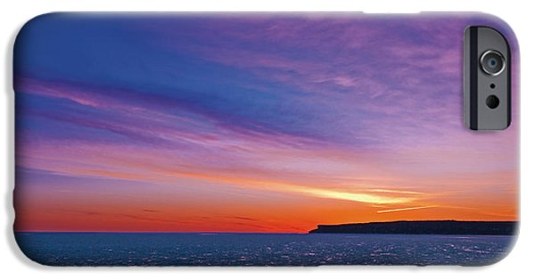 Drama iPhone Cases - Dawn In Winter At Isthmus Bay iPhone Case by Mike Grandmailson