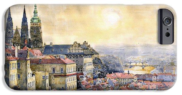 Prague Paintings iPhone Cases - Dawn of Prague iPhone Case by Yuriy  Shevchuk