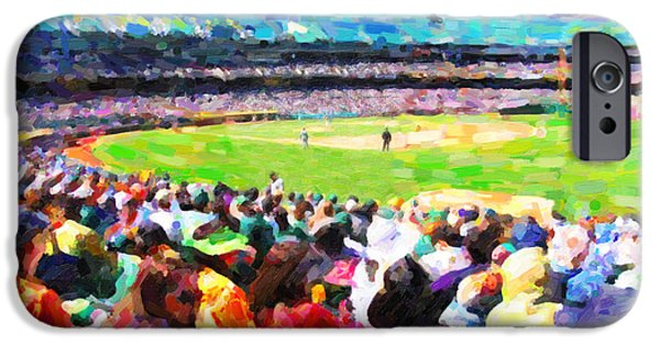 Baseball Stadiums Digital Art iPhone Cases - Day Game At The Old Ballpark iPhone Case by Wingsdomain Art and Photography