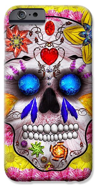 Old Blue Eyes iPhone Cases - Day of the Dead - Death Mask iPhone Case by Mike Savad