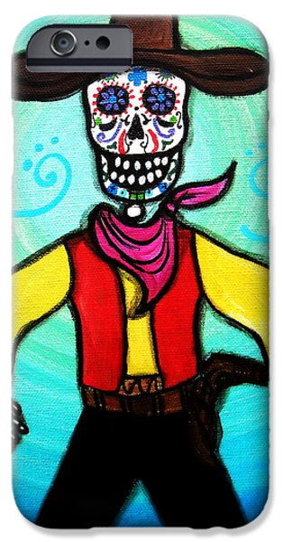 Carter Family iPhone Cases - Day Of The Dead Cowboy iPhone Case by Pristine Cartera Turkus