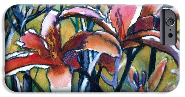 Nature Abstracts iPhone Cases - Daylily Stix iPhone Case by Kathy Braud