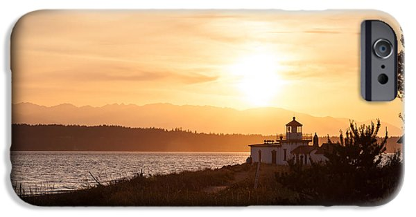 Lighthouse iPhone Cases - Days End at Discovery Lighthouse iPhone Case by Mike Reid