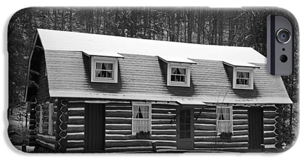 Cabin Window iPhone Cases - Days of Yore Log Cabin iPhone Case by John Stephens
