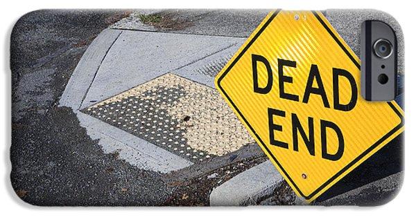 Asphalt iPhone Cases - Dead End Sign iPhone Case by Paul Edmondson