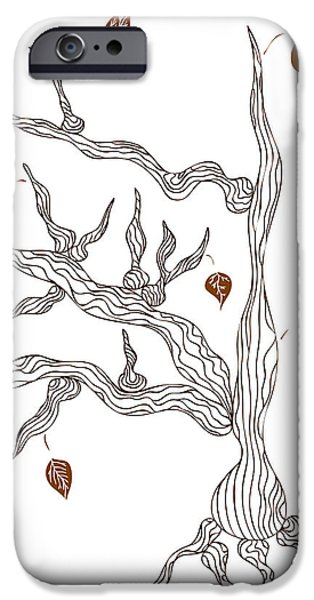 Abstract Drawings iPhone Cases - Dead wood iPhone Case by Frank Tschakert