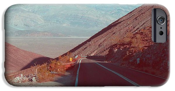 Rural Landscapes iPhone Cases - Death Valley Road 3 iPhone Case by Naxart Studio