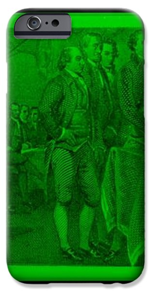 DECLARATION OF INDEPENDENCE in GREEN iPhone Case by ROB HANS