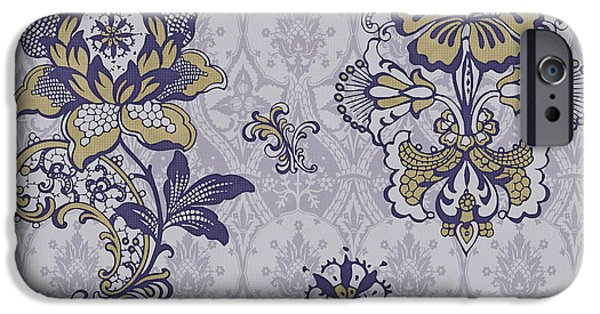 Carpet iPhone Cases - Deco Flower blue iPhone Case by JQ Licensing