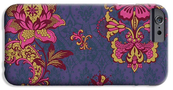 Carpet iPhone Cases - Deco Flower Purple iPhone Case by JQ Licensing