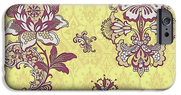 Carpet iPhone Cases - Deco Flower Yellow iPhone Case by JQ Licensing