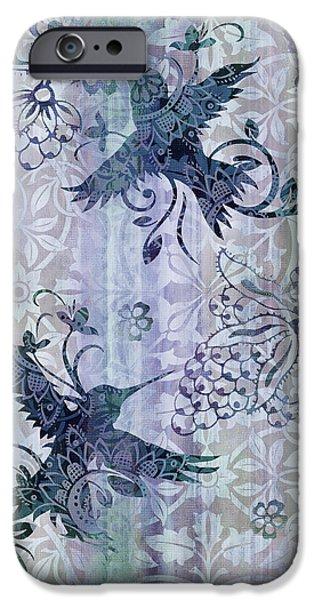 Carpet iPhone Cases - Deco Hummingbird Blue iPhone Case by JQ Licensing