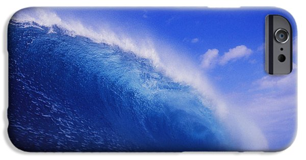 Lips iPhone Cases - Deep Blue Wave Curls iPhone Case by Vince Cavataio - Printscapes
