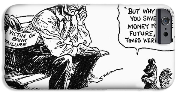 Finance Drawings iPhone Cases - Depression Cartoon 1932 iPhone Case by Granger
