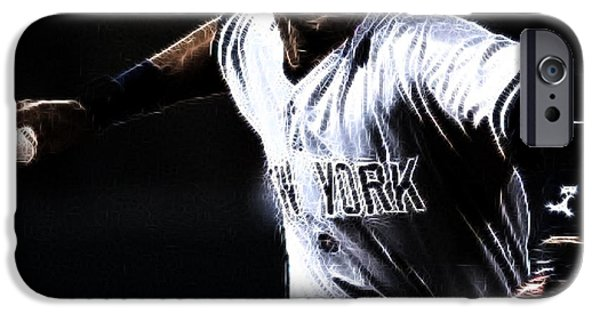 Baseball Art iPhone Cases - Derek Jeter iPhone Case by Paul Ward