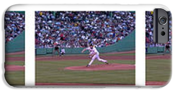 Red Sox iPhone Cases - Derek Lowe Pitching Motion iPhone Case by David Bearden