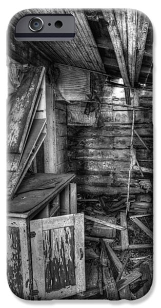 Mess iPhone Cases - Derelict House BW iPhone Case by Thomas Zimmerman