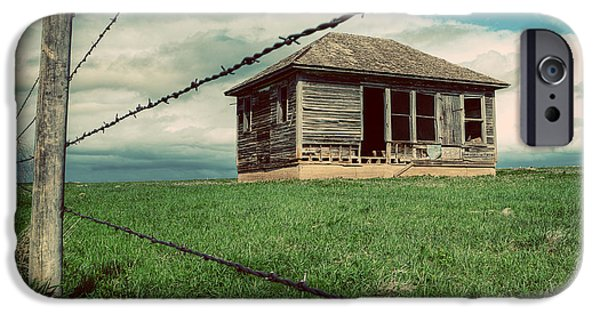 Barbed Wire Fences iPhone Cases - Derelict House on the Plains iPhone Case by Thomas Zimmerman