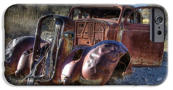 Rusted Cars iPhone Cases - Desert Beauty iPhone Case by Bob Christopher