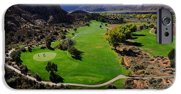 Slickrock iPhone Cases - Desert Canyon Golf Course iPhone Case by Gary Whitton