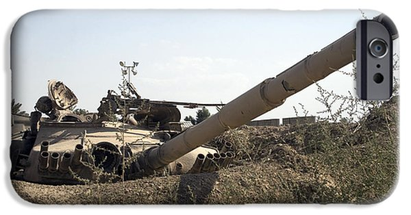 Baghdad iPhone Cases - Destroyed Iraqi Tanks Near Camp Slayer iPhone Case by Terry Moore