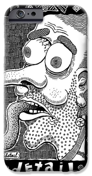 Eerie Drawings iPhone Cases - Detail iPhone Case by Ralf Schulze