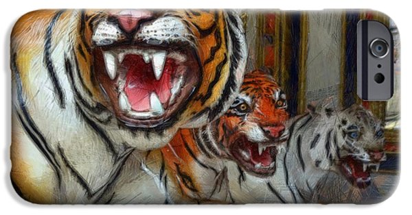 The Tiger Digital Art iPhone Cases - Detroit Tigers Carousel iPhone Case by Michelle Calkins