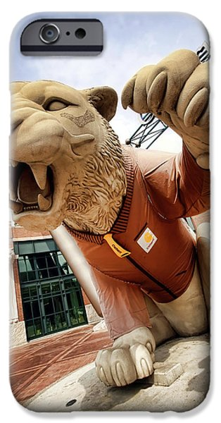 The Tiger iPhone Cases - Detroit Tigers Tiger statue outside of Comerica Park Detroit Michigan iPhone Case by Gordon Dean II