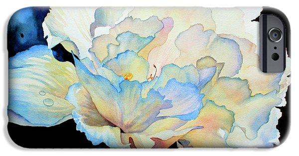 Macro Paintings iPhone Cases - Dew Drops on Peony iPhone Case by Hanne Lore Koehler
