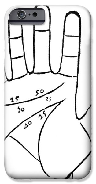 Diagram Used In Palmistry, 16th Century iPhone Case by Middle Temple Library