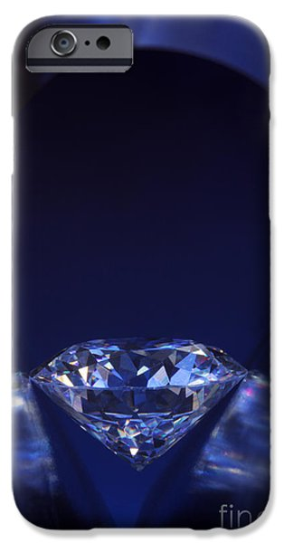 Close Jewelry iPhone Cases - Diamond in deep-blue light iPhone Case by Atiketta Sangasaeng