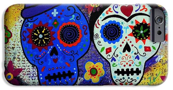 Diego Rivera iPhone Cases - Diego Rivera And Frida Kahlo Dia De Los Muertos iPhone Case by Pristine Cartera Turkus