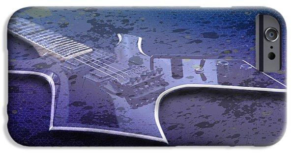 Strings Digital iPhone Cases - Digital-Art E-Guitar I iPhone Case by Melanie Viola