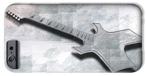 Strings Digital iPhone Cases - Digital-Art E-Guitar III iPhone Case by Melanie Viola