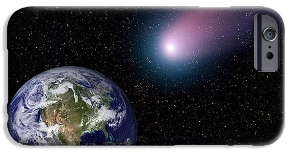 Terrestrial Sphere iPhone Cases - Digital Composite Of A Comet Heading iPhone Case by Stocktrek Images