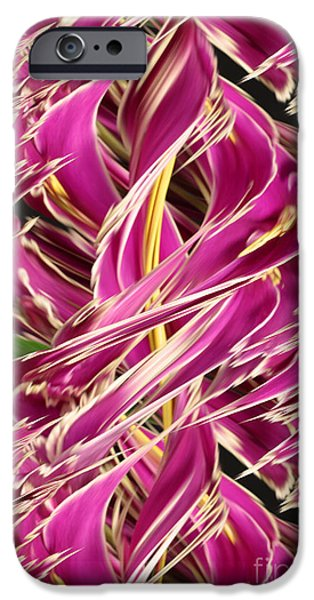 Designs In Nature iPhone Cases - Digital Streak Image Of African Violets iPhone Case by Ted Kinsman