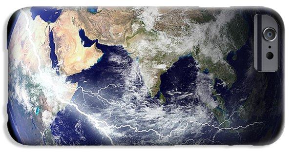 Terrestrial Sphere iPhone Cases - Digitally Enhanced Image Of The Full iPhone Case by Stocktrek Images