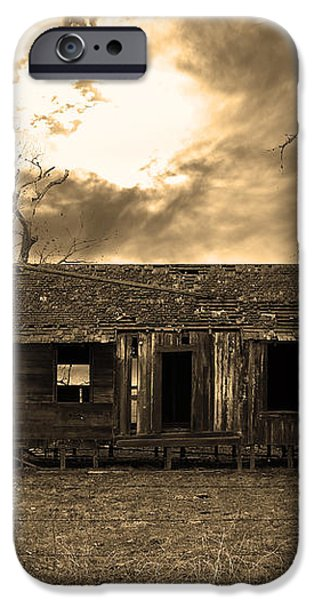 Dilapidated Old Farm House . 7D10341 . sepia iPhone Case by Wingsdomain Art and Photography