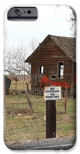 Dilapidated Old Farm House . No Trespassing . No Hunting . 7D10335 iPhone Case by Wingsdomain Art and Photography