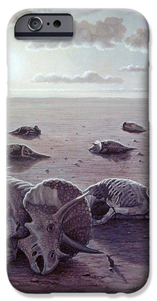 Wildlife Disasters iPhone Cases - Dinosaur Extinction iPhone Case by Mauricio Anton