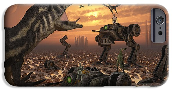 Hi-tech iPhone Cases - Dinosaurs And Robots Fight A War iPhone Case by Mark Stevenson