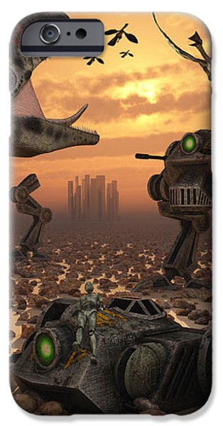 Dinosaurs And Robots Fight A War iPhone Case by Mark Stevenson