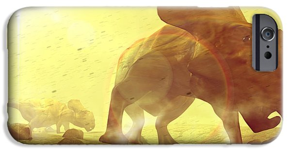 Palaeontology iPhone Cases - Dinosaurs In Dust Storm iPhone Case by Christian Darkin