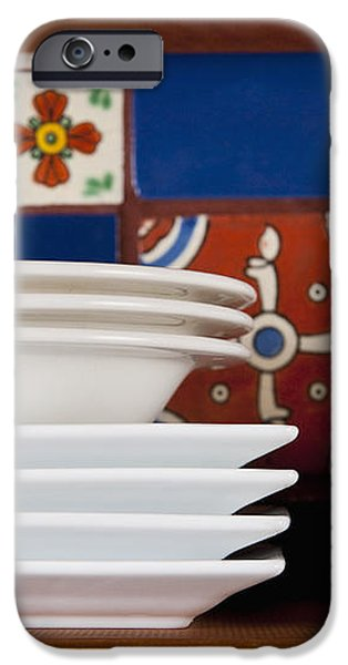 Dishes in Front of Colorful Tile iPhone Case by Thom Gourley/Flatbread Images, LLC