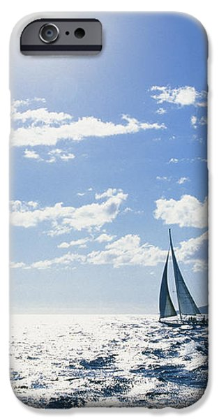 Distant View Of Sailboat iPhone Case by Ron Dahlquist - Printscapes