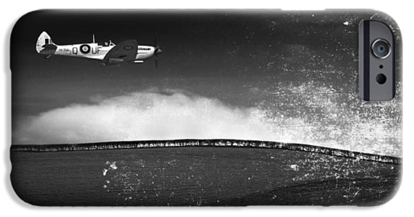 Flight iPhone Cases - Distressed Spitfire iPhone Case by Meirion Matthias
