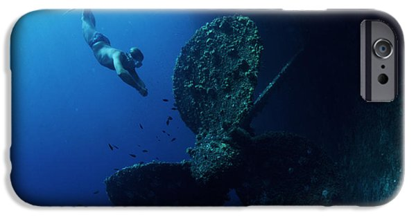 Free-diver iPhone Cases - Diver By Shipwrecks Propeller iPhone Case by Alexis Rosenfeld