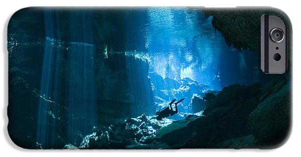 Diver iPhone Cases - Diver Enters The Cavern System N iPhone Case by Karen Doody