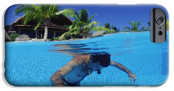 Free-diver iPhone Cases - Diver Training In Pool iPhone Case by Alexis Rosenfeld